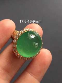 Lux icy green Muna Jadeite Ring Cabochon