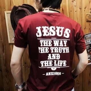 Unisex-Baju Kaos Distro Gambar Salib Jesus Pria Wanita Cewek Cowok Warna Merah Maroon Ukuran L