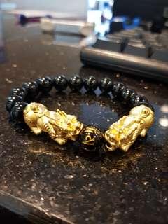 999 pixiu with agate bracelet