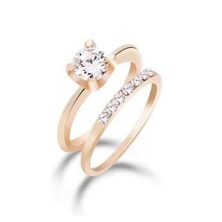 Elegant Rose Gold Cubic Zirconia Ring Set