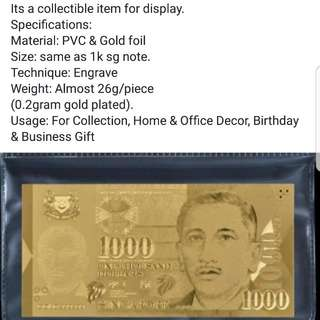 1k Gold sgd note