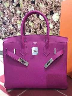 正品 全新 Hermes Birkin 30 L3 最新紫色銀扣 手挽袋