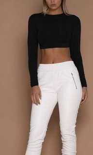 Mila Long Sleeve Crop Top - Black
