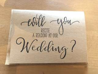 Reading Wedding Brown Kraft Card