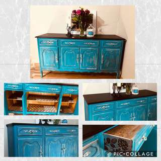 Teal refinished Sideboard