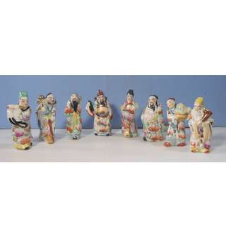 Vintage rare porcelain statues Chinese 8 immortal deities circa 1950s unused
