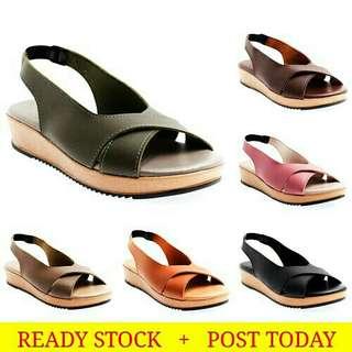 Ready stock free pos Aldo Wedges new style women fashion cross stra flat sandals