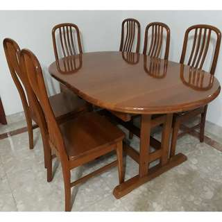 Dining Table Set with Six Chairs