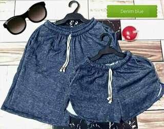 Denim blue couple shorts