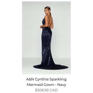 Navy Sequin Prom Dress