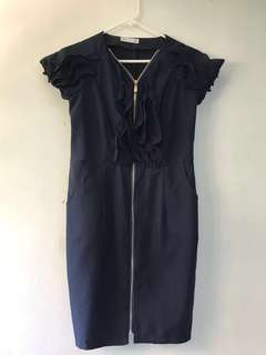 VRG Sheath Dress with Frills