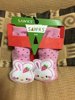Anti slip baby socks with rattle