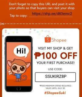 suki voucher less 100 for 1st purchase on shopee