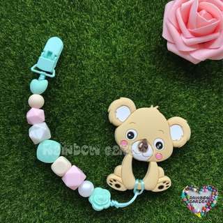 Handmade Silicone beads Pacifier Clip + Koala teether combo
