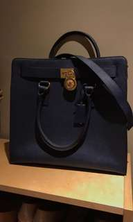 Michael Kors Navy Saffiano Hamilton Tote Bag