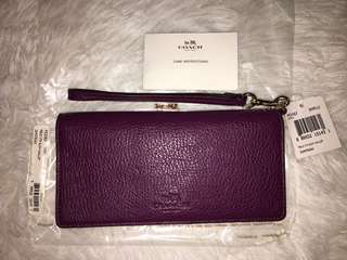 coach slim wallet pebble leather 53767