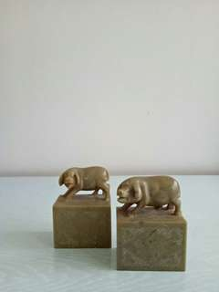 A Pair Of Stone Carving Pig Height 9cm Length 6.5cm Perfect Condition Pair For $138