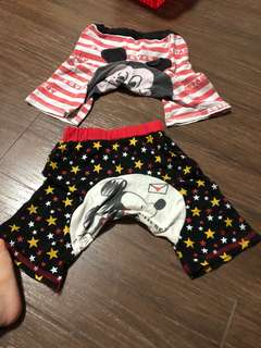 Preloved used pp pants shirts 9mths up, in mickey mouse design children clothes baby