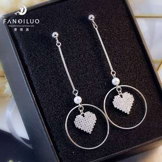 Hottest S925 Silver Heart Shaped Round Circle Earrings