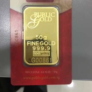 50 gram Gold Bar 999.9 LBMA Accredited