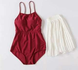 現貨超值♥復古連身泳衣+百褶裙/兩色swimsuit