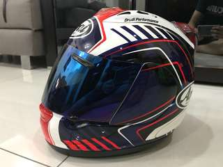 Arai rx-7 helmet with blue visor and ori visor.