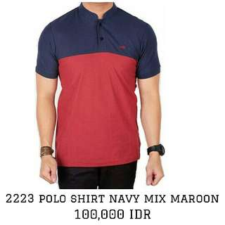 Polo Shirt lacoste Cowok Navy mix maroon