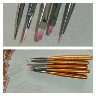 Set of 5 Nail Art Design Tools (4 Brushes and 1 Dot Tool)