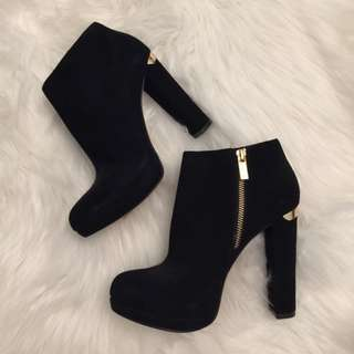 Michael Kors Suede Haven Booties with Gold Detailing (Size 7)