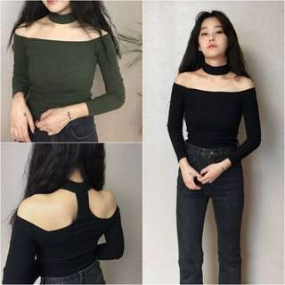 [po] bodycon off shoulder choker long-sleeved top