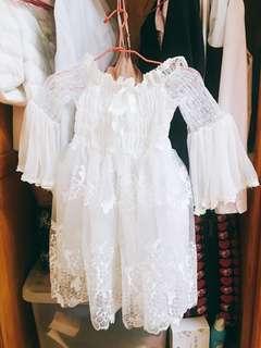 🚚 平口公主花花袖蕾絲夢幻紗裙小禮服