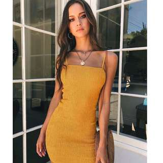🐾Yellow spag bodycon dress