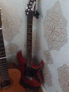 Ibanez red electric guitar