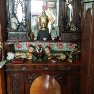 Peranakan teak wood side cabinet