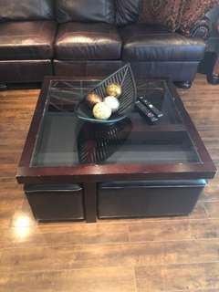 Coffee and side tables with nesting storage seats