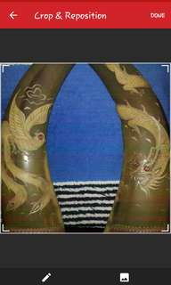 PAIR MID 20c CHINESE HAND MADE APPLIQUE & CARVED BUFFALO HORN PHOENIX & DRAGON