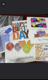 Assorted plain birthday cards