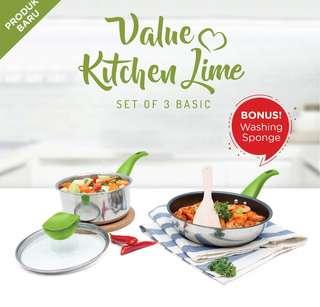 Teflon / Wajan + Panci - Value Kitchen (Green Color)