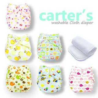 CARTER CLOTH DIAPER With INSERT6pcs set 1620 -* Brand : CARTERS  * Washable Reusable Cloth Diaper with 1PCS Inserts  -* waterproof and breathable TPU  -* All in one size,