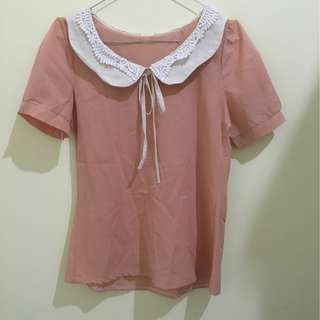 Peach ribbon blouse