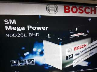 Car Battery Bosch Battery                                               SM Mega Power                                          S4 90D26L 75AH CCA620                                           1Year Warranty