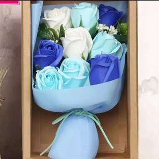 Mother's Day flower bouquet soap roses blue