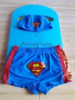 Superman Trunks and Head Cap