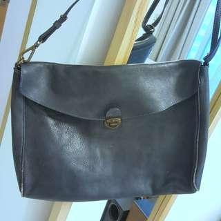 Dark blue leather shoulder bag