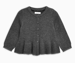 Next UK baby grey frill cardigan