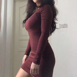 Forever21 wine red bodycon dress