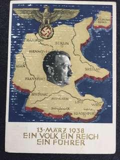 """Germany Third Reich Hitler 1938 """"Ein Volk Ein Reich Ein Fuhrer"""" Propaganda Postcard Used"""