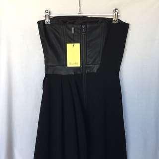 BARDOT Asymmetrical Draped Dress w/ leather detail