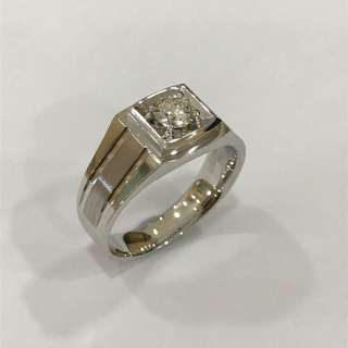 0.40 carat 18K White Gold Man's Diamond Ring with GIA cert, Ideal Cut Diamond