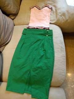 Green A line skirt high waist